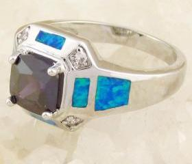 size 7 Purple Amethyst with Blue Fire Opal Silver Gemstone Ring